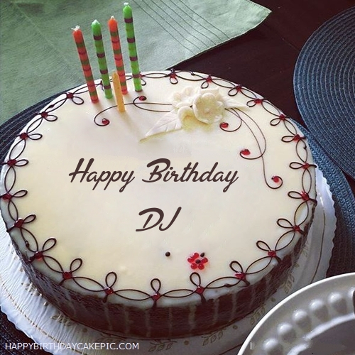 Candles Decorated Happy Birthday Cake For DJ