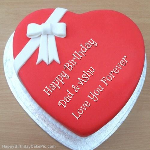 Write Name On Pink Heart Happy Birthday Cake