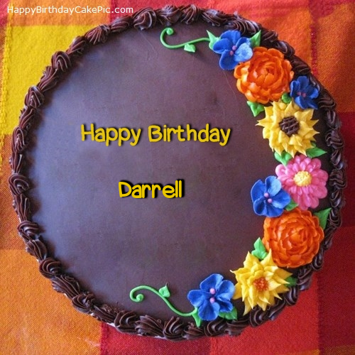 Happy Birthday With Chocolate Cake And Flower