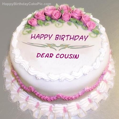 Peachy Pink Rose Birthday Cake For Dear Cousin Funny Birthday Cards Online Aboleapandamsfinfo