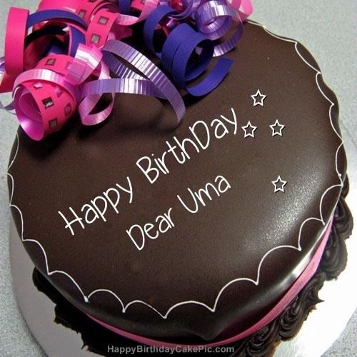 Happy Birthday Chocolate Cake For Dear Uma