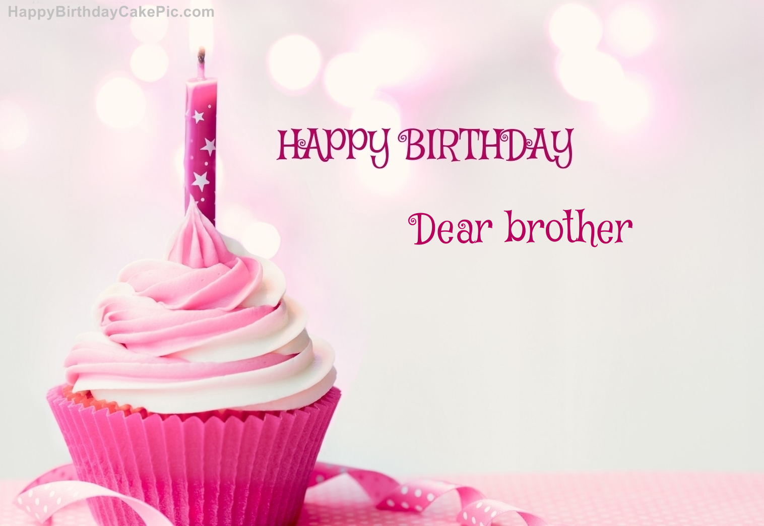 Happy Birthday Cupcake Candle Pink Cake For Dear Brother