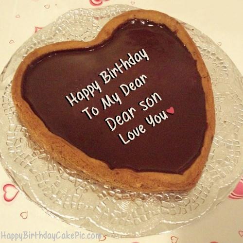 Terrific Chocolate Heart Birthday Cake For Lover For Dear Son Birthday Cards Printable Trancafe Filternl