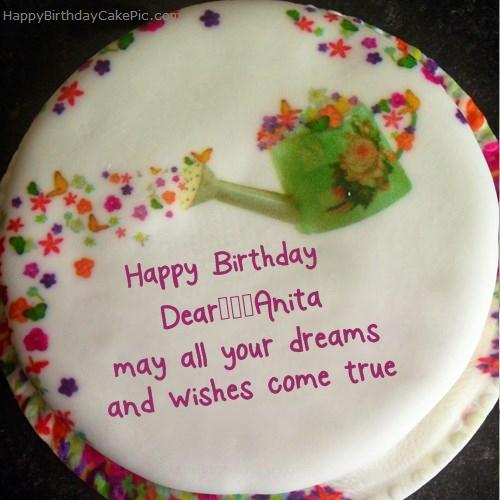 Wish Birthday Cake For Dear Anita