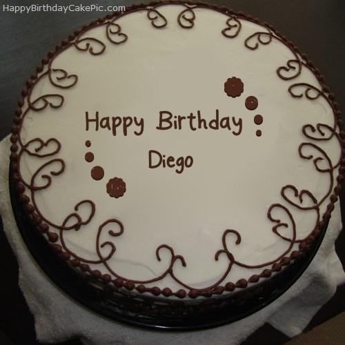 Stupendous Border Chocolate Cake For Diego Personalised Birthday Cards Epsylily Jamesorg