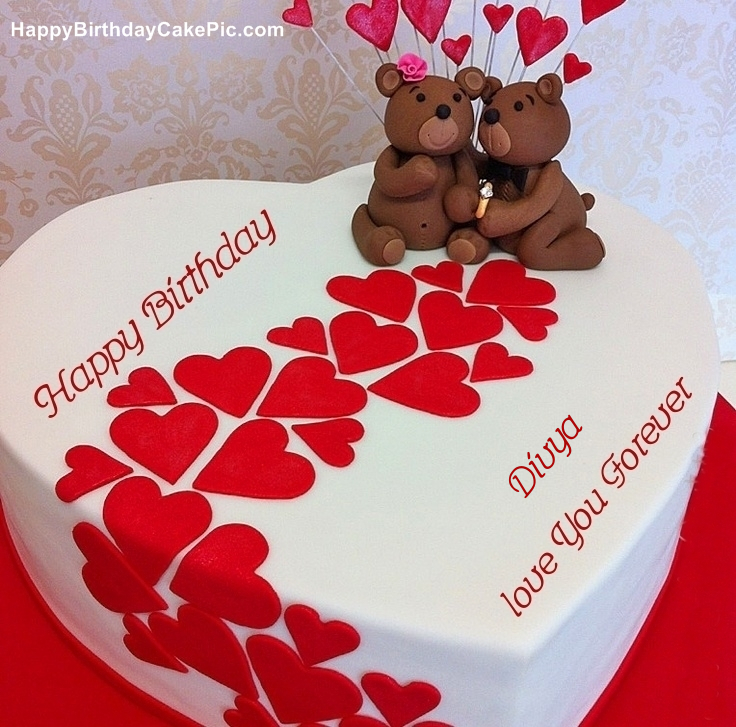 Heart Birthday Wish Cake For Divya