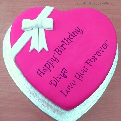 Images Of Birthday Cake With Name Divya : Pink Heart Happy Birthday Cake For Divya