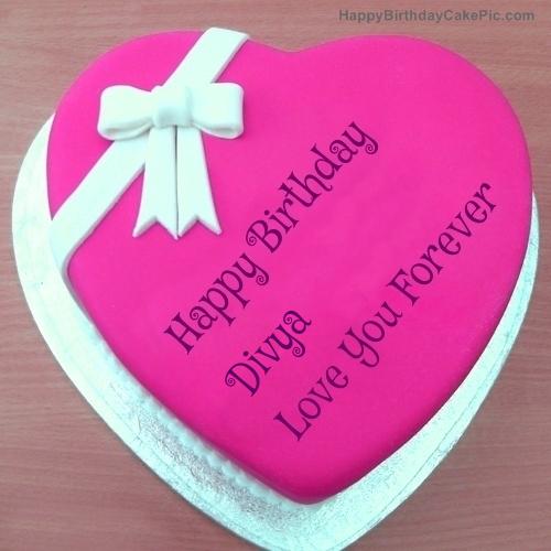 Images Of Birthday Cake With Name Divya : Pink Heart Happy Birthday Cake For Divya