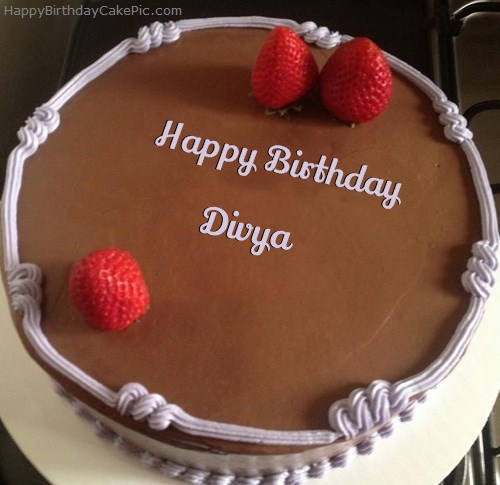 Images Of Birthday Cake With Name Divya : Chocolate Strawberry Birthday Cake For Divya