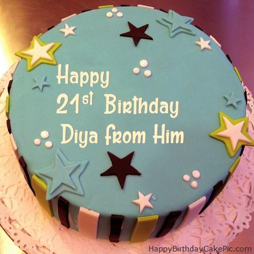 Wondrous Elegant 21St Birthday Cake For Diya From Him Funny Birthday Cards Online Elaedamsfinfo
