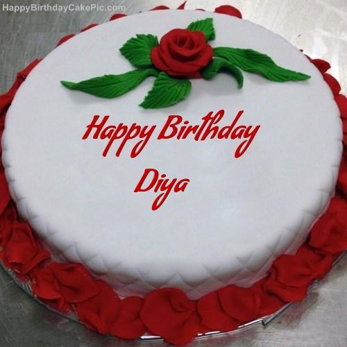 Red Rose Birthday Cake For Diya
