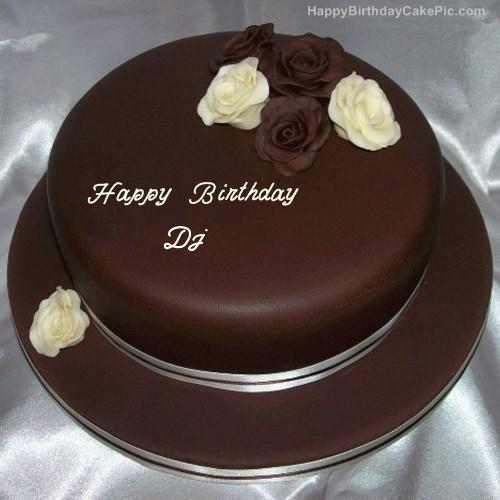 Fine Rose Chocolate Birthday Cake For Dj Personalised Birthday Cards Cominlily Jamesorg