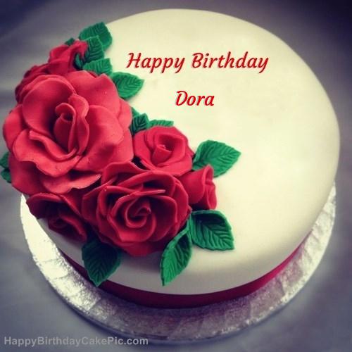 Pleasing Roses Birthday Cake For Dora Birthday Cards Printable Benkemecafe Filternl