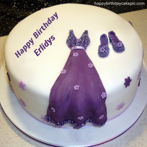 write name on Dress Birthday Cakes for Girls