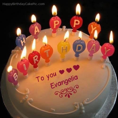 Candles Happy Birthday Cake For Evangelia