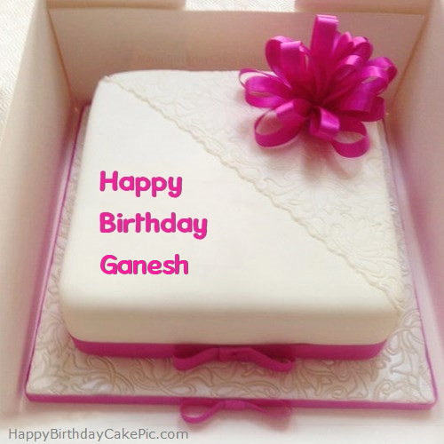 Pink Happy Birthday Cake For Ganesh