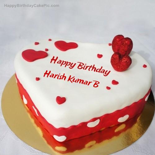 Cake Images With Name Harish : Ice Heart Birthday Cake For Harish Kumar B