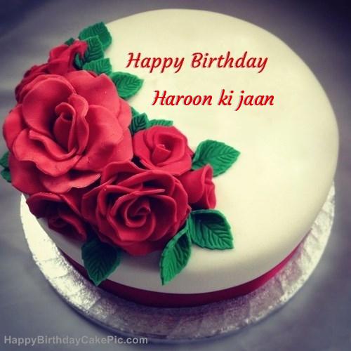 Roses birthday cake for haroon ki jaan write name on roses birthday cake publicscrutiny Choice Image