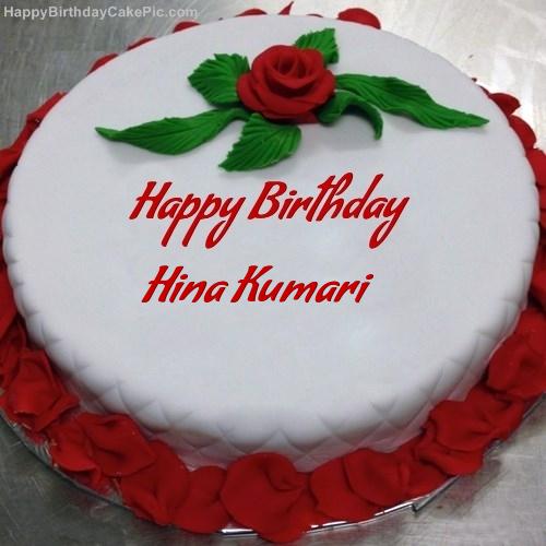 Red Rose Birthday Cake For Hina Kumari