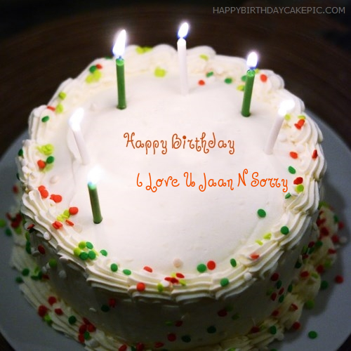 ️ Birthday Cake With Candles For I Love U Jaan N Sorry