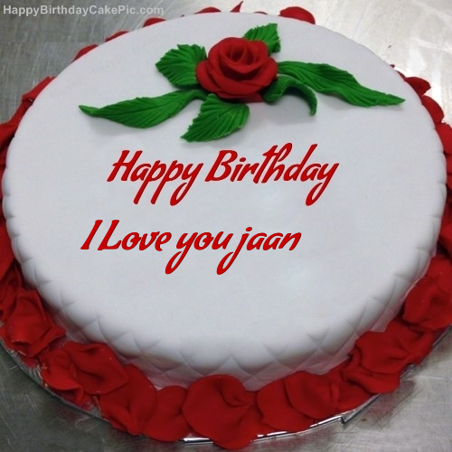 Sensational Red Rose Birthday Cake For I Love You Jaan Funny Birthday Cards Online Fluifree Goldxyz
