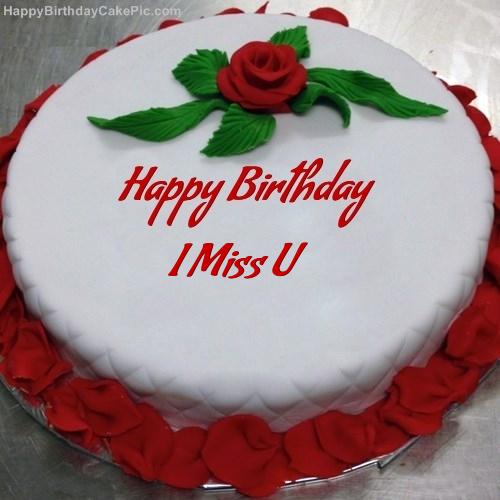 Red Rose Birthday Cake For I Miss U