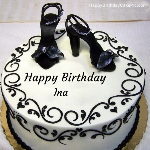 Tremendous Fashion Happy Birthday Cake For Ina Funny Birthday Cards Online Inifodamsfinfo
