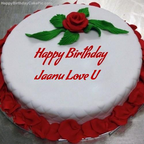 Red Rose Birthday Cake For Jaanu Love U