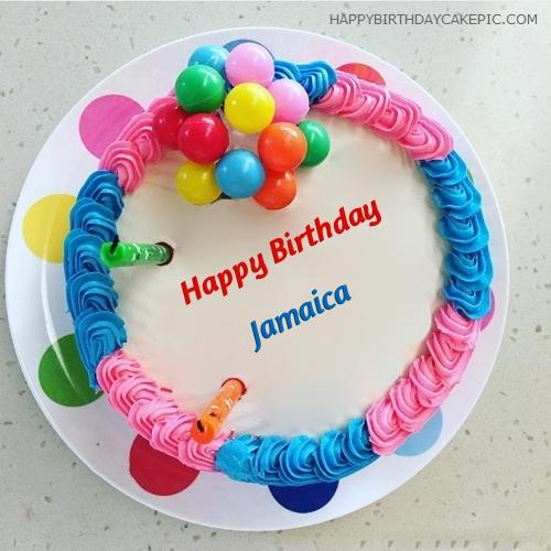 Colorful Happy Birthday Cake For Jamaica