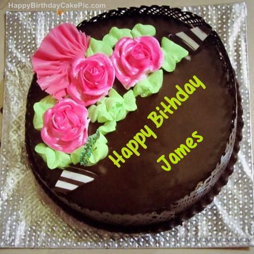 Chocolate birthday cake for james write name on chocolate birthday cake thecheapjerseys Images