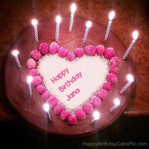 Candles Heart Happy Birthday Cake For Jana