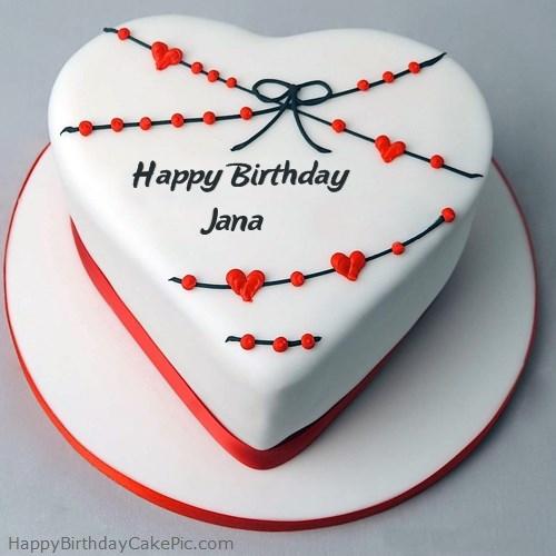 Red White Heart Happy Birthday Cake For Jana