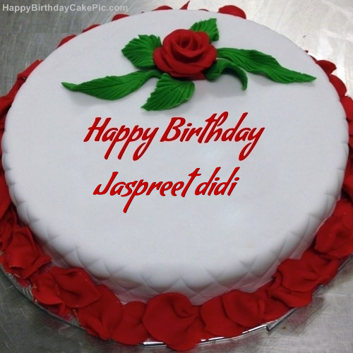 Images Of Birthday Cake For Didi : Red Rose Birthday Cake For Jaspreet didi