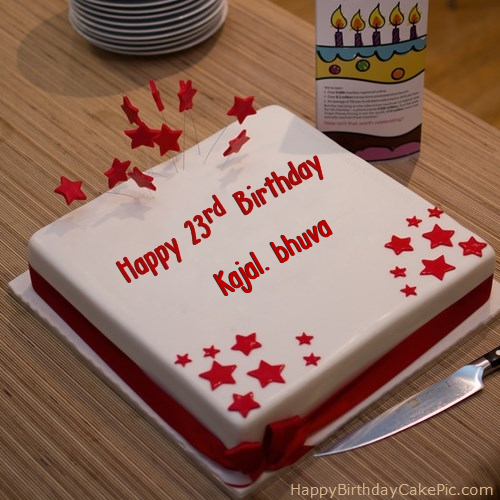 Red 23rd Happy Birthday Cake For Kajal Bhuva