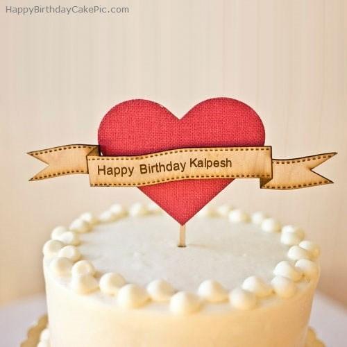 Heart Happy Birthday Cake For Kalpesh