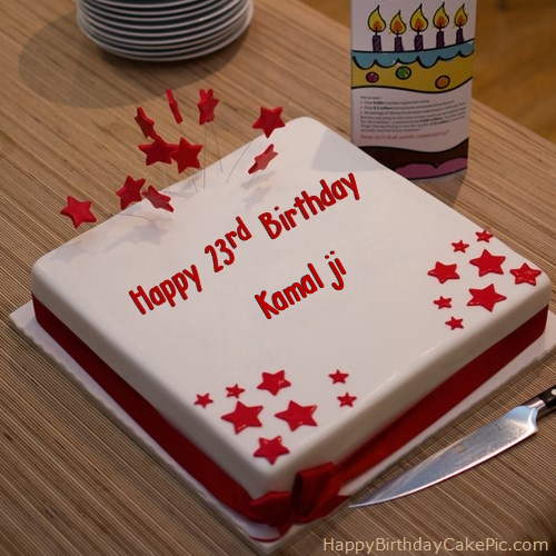 Birthday Cake Images With Name Komal : Red 23rd Happy Birthday Cake For Kamal ji