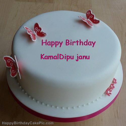 Butterflies Girly Birthday Cake For Kamaldipu Janu