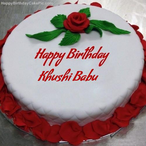 Red Rose Birthday Cake For Khushi Babu