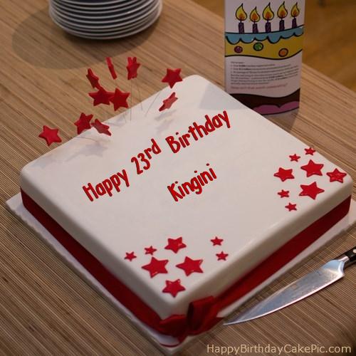 Red 23rd Happy Birthday Cake For Kingini