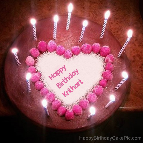 write name on Candles Heart Happy Birthday Cake