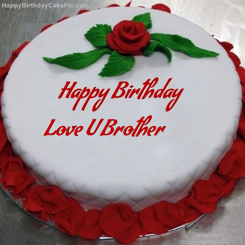 Swell Red Rose Birthday Cake For Love U Brother Personalised Birthday Cards Veneteletsinfo