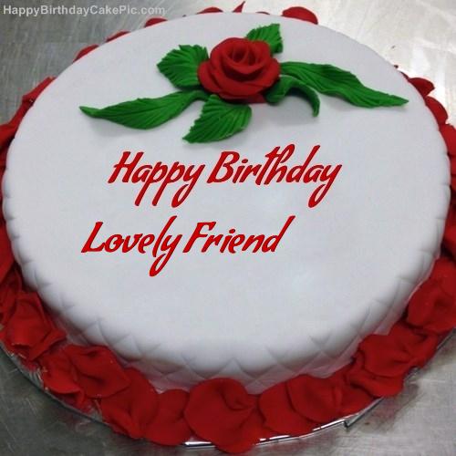 Pleasing Red Rose Birthday Cake For Lovely Friend Birthday Cards Printable Benkemecafe Filternl