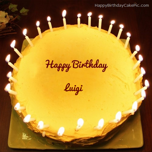 Pleasant Candles Birthday Cake For Luigi Funny Birthday Cards Online Unhofree Goldxyz