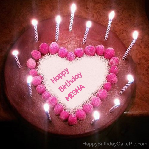 Cake Images With Name Megha : Candles Heart Happy Birthday Cake For MEGHA