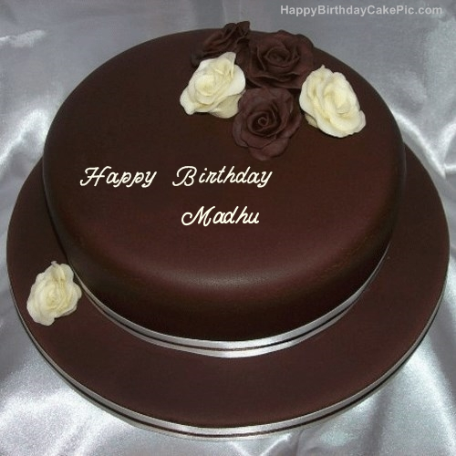 Birthday Cake Images With Name Madhu : Rose Chocolate Birthday Cake For Madhu