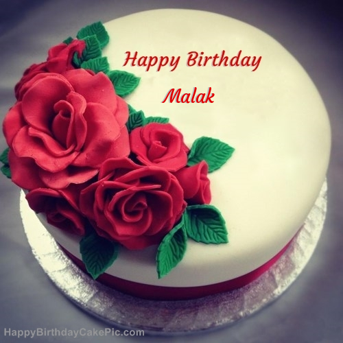 Cake Images With Name Raju : Roses Birthday Cake For Malak