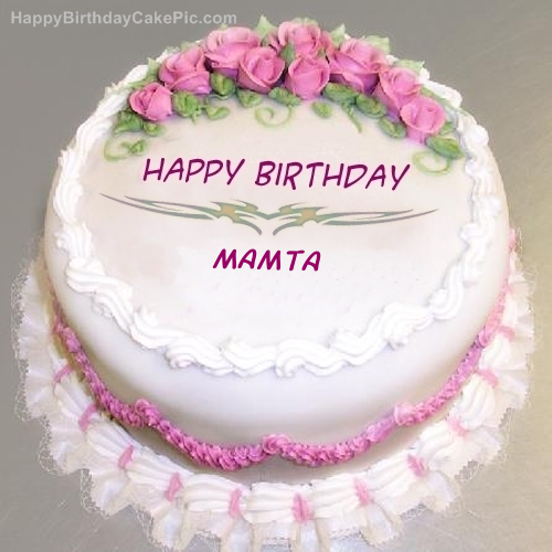 Birthday Cake Pic With Name Mamta : Pink Rose Birthday Cake For Mamta