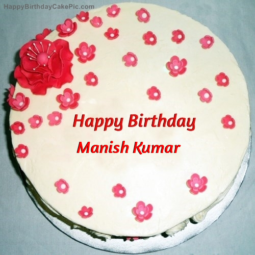 Cake Images With Name Manisha : Fondant Birthday Cake For Manish Kumar