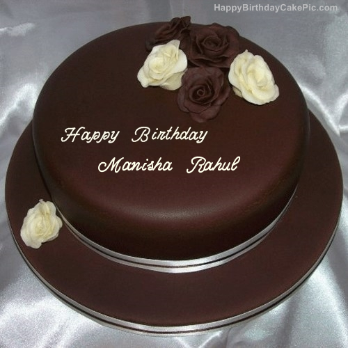 Cake Images With Name Manisha : Rose Chocolate Birthday Cake For Manisha Rahul