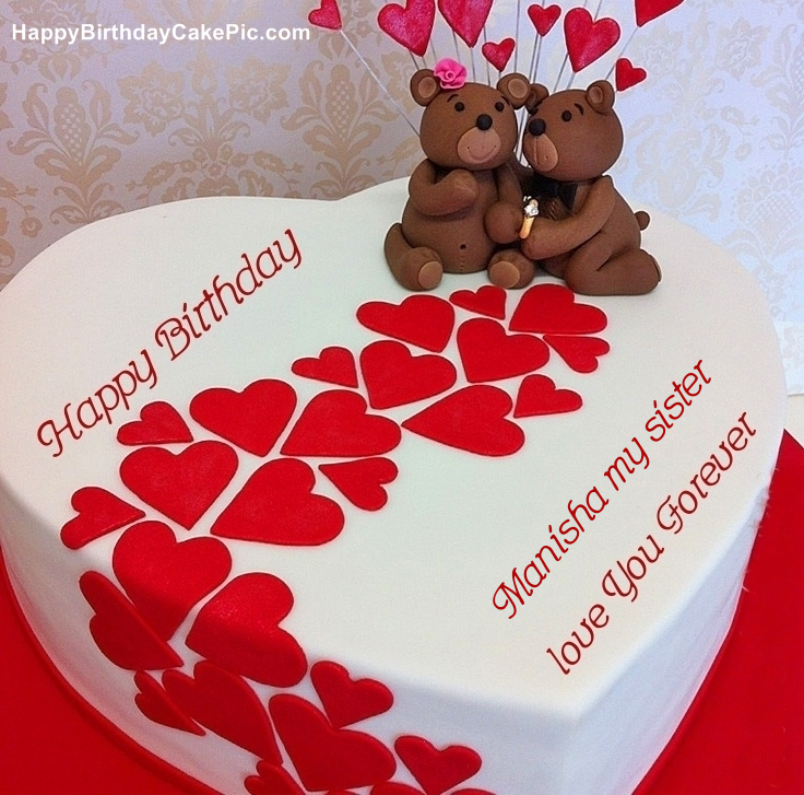 Heart Birthday Wish Cake For Manisha my sister